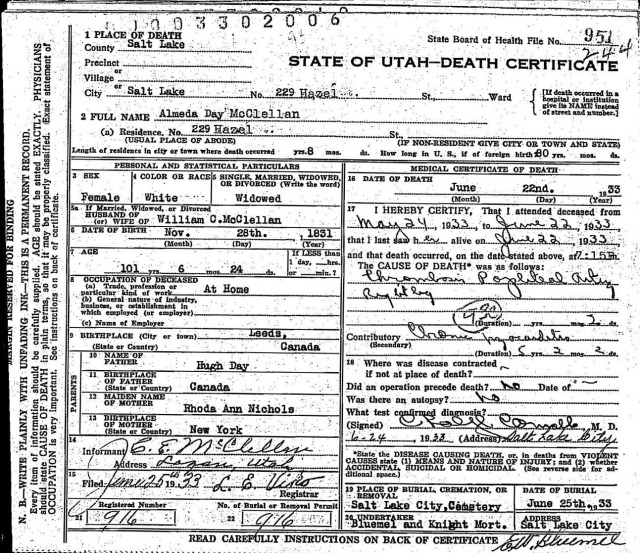 almeda day death certificate